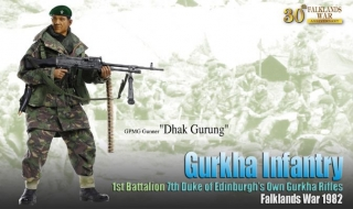 "Figurka GPMG Gunner ""Dhak Gurung"", Gurkha Infantry, 1st Battalion, 7th Duke of Edinburgh's Own Gurkha Rifles, Falklands War 1982"