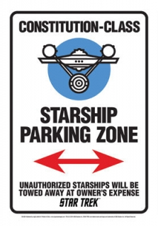 Plechová cedule Star Trek - Starship Parking Zone