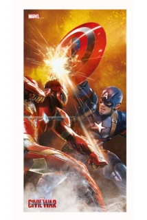 Obraz Captain America Civil War Glass Poster Iron Man 60 x 30 cm