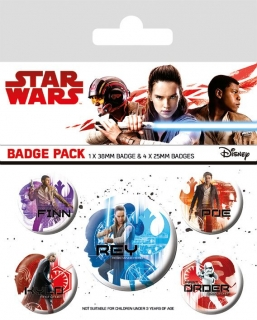 Sada odznaků Star Wars Episode VIII Pin Badges 5-Pack Icons