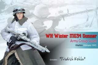 Figurka Friedrich Kohler, WH Winter MG34 Gunner, Army Group South, Kharkov, February 1943 (Grenadier)
